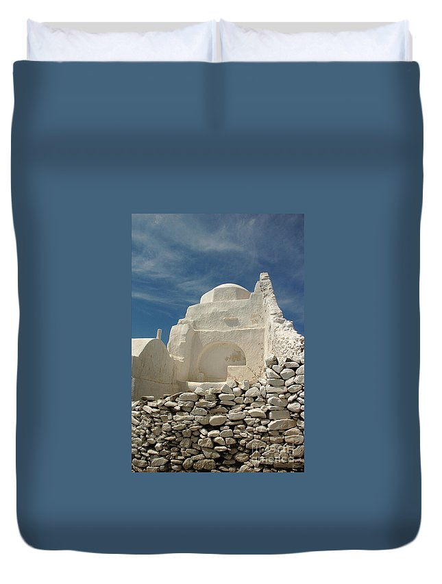 Church Duvet Cover featuring the photograph Mykonos Church by Vivian Christopher