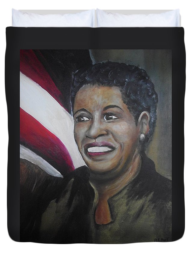 Black History Month Duvet Cover featuring the painting Myrlie Evers by Anthony Hurt