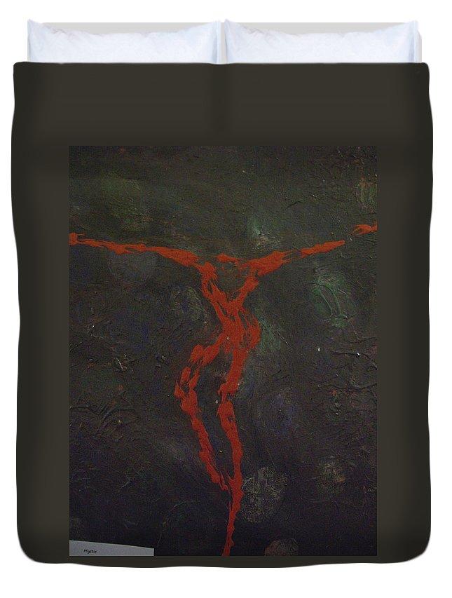 Laurette Escobar Duvet Cover featuring the painting Mystic by Laurette Escobar