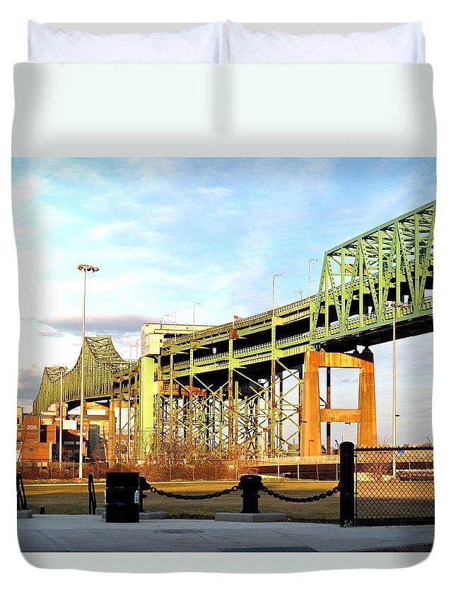 Landscape Duvet Cover featuring the photograph Mystic River Bridge by Barbara McDevitt