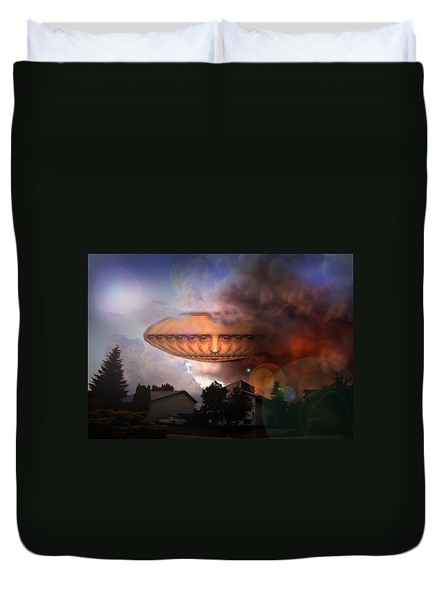 Surrealism Duvet Cover featuring the digital art Mystic UFO by Otto Rapp