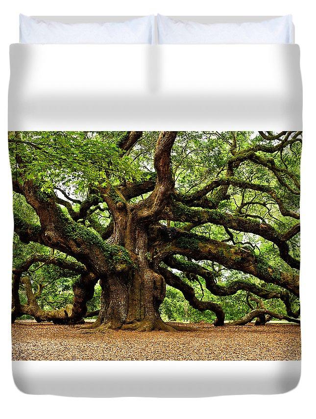 Charleston Duvet Cover featuring the photograph Mystical Angel Oak Tree by Louis Dallara
