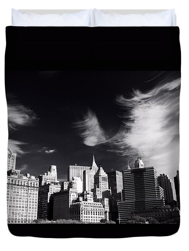 Mystical Manhattan Morning Duvet Cover featuring the photograph Mystical Manhattan Morning by Dan Sproul