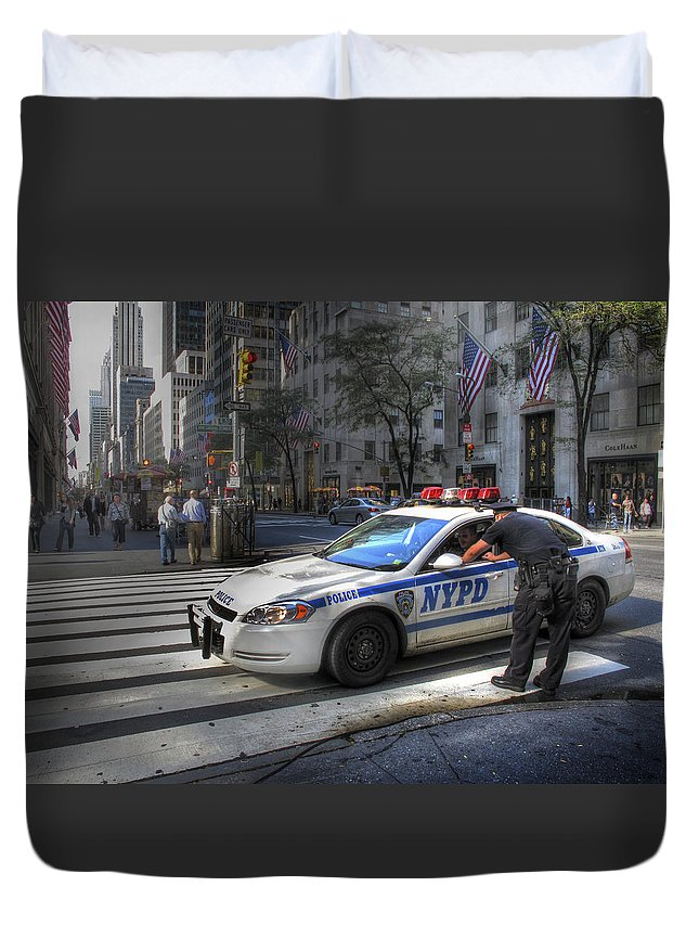 New York City Duvet Cover featuring the photograph N Y P D by Douglas J Fisher