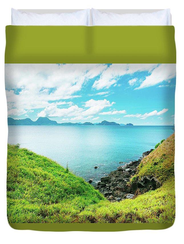 Scenics Duvet Cover featuring the photograph Nacpan Beach Hills by Danilovi