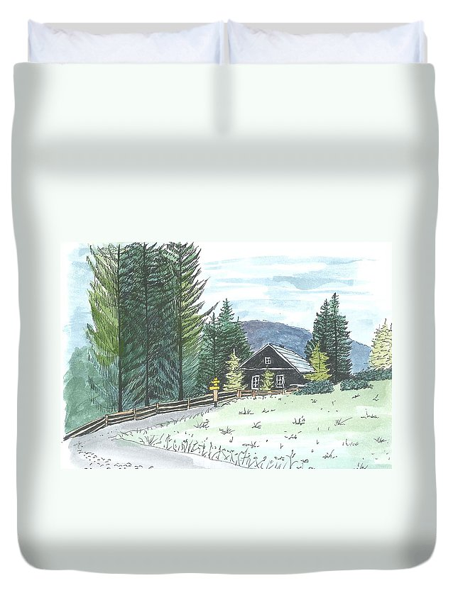 Mountain Duvet Cover featuring the drawing Naggl Alm by Petra Stephens