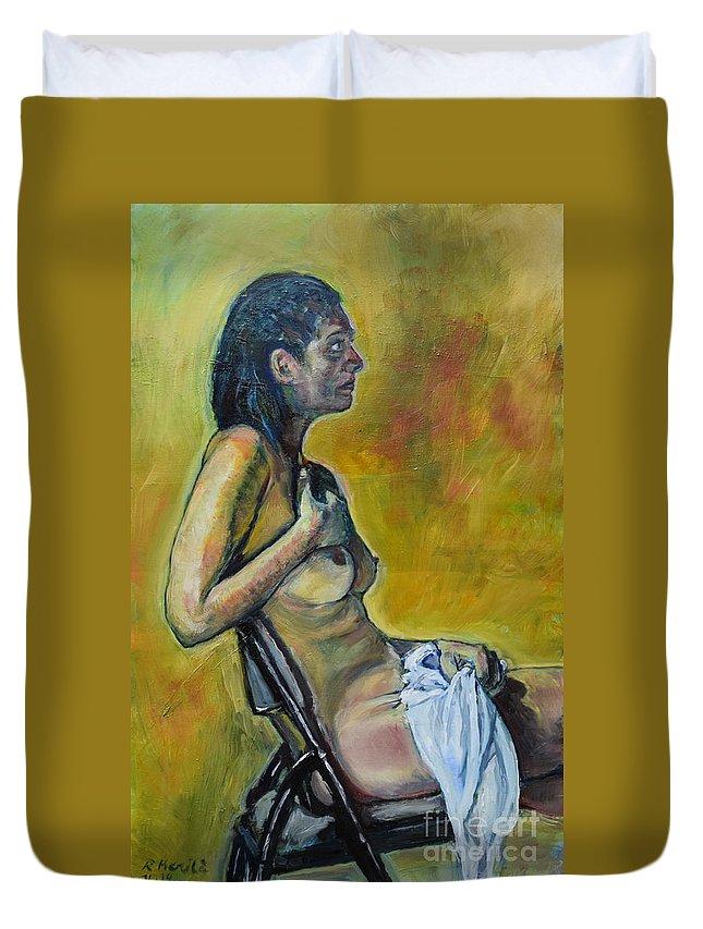 Nude In Art Duvet Cover featuring the painting Naked Tellervo 1 by Raija Merila