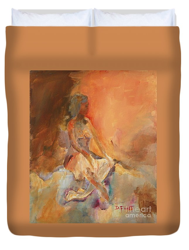 Duvet Cover featuring the painting Namaste by Donna Frost