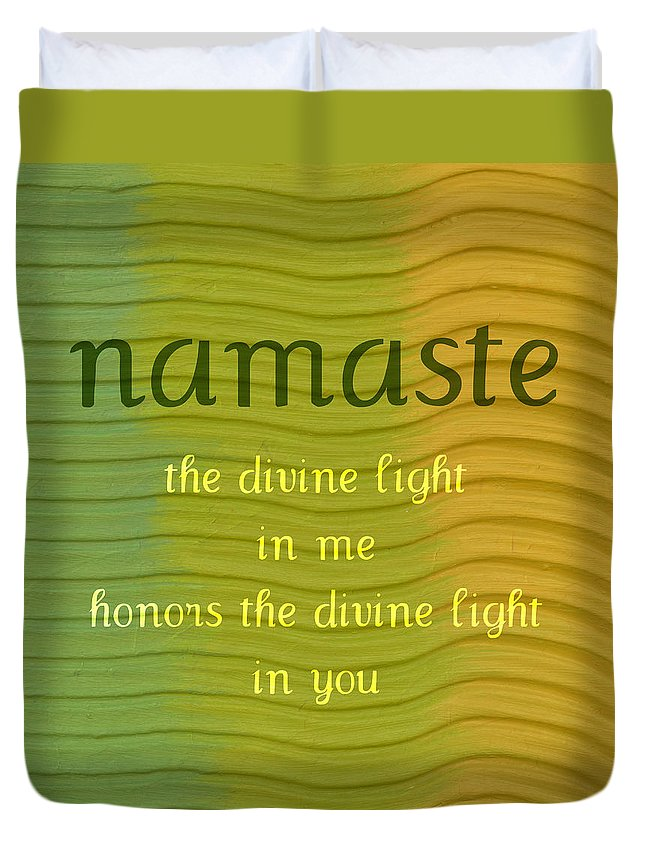 Namaste Duvet Cover featuring the painting Namaste by Michelle Calkins
