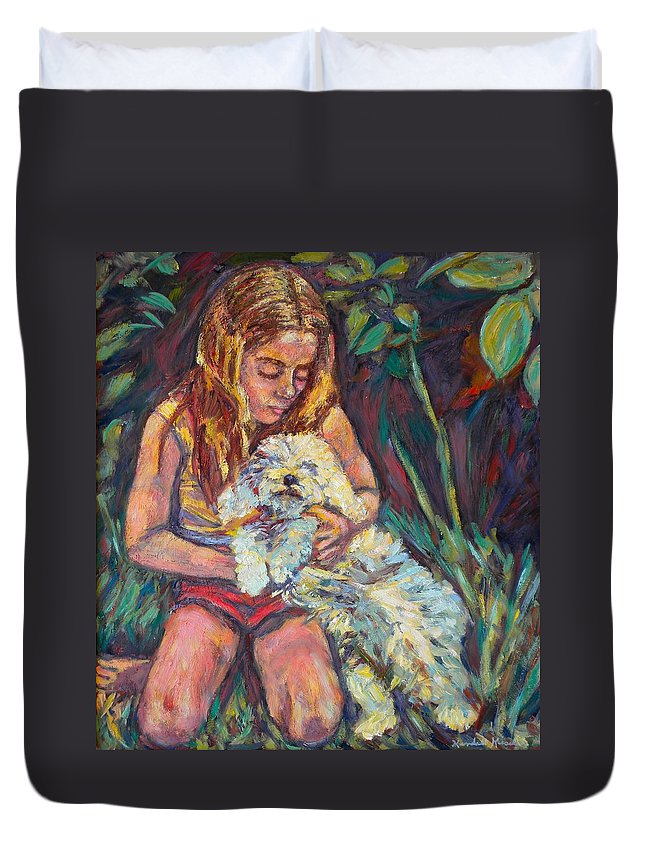 Girl Duvet Cover featuring the painting Nan And Beau by Kendall Kessler