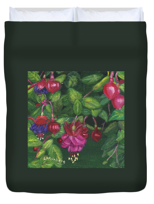 Flowers Duvet Cover featuring the painting Nancy's Fuchsias by Linda Feinberg