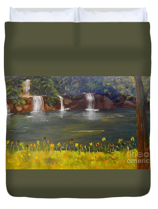 Impressism Duvet Cover featuring the painting Nandroy Falls In Queensland by Pamela Meredith