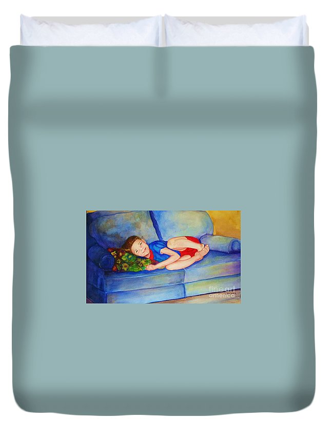 Nap Time Duvet Cover featuring the painting Nap Time by Jane Ricker