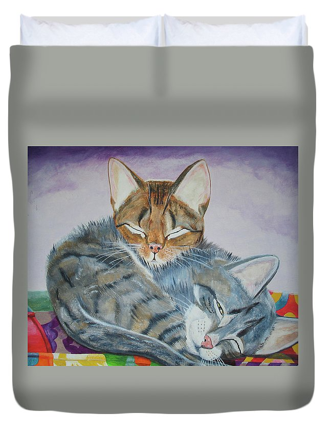 Pillow Duvet Cover featuring the painting Nap Time by Thomas J Herring
