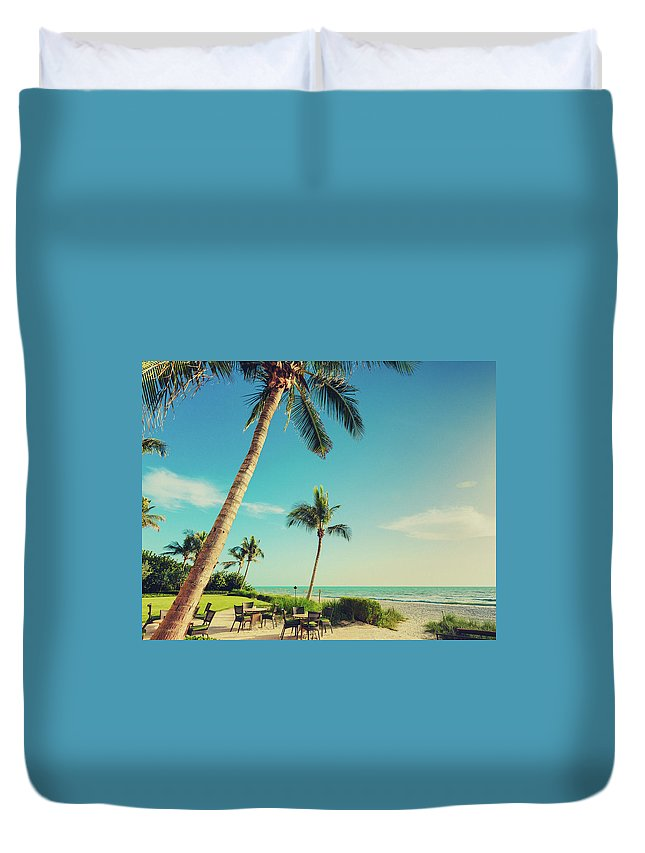 Vacations Duvet Cover featuring the photograph Naple Beach Palms by Thepalmer