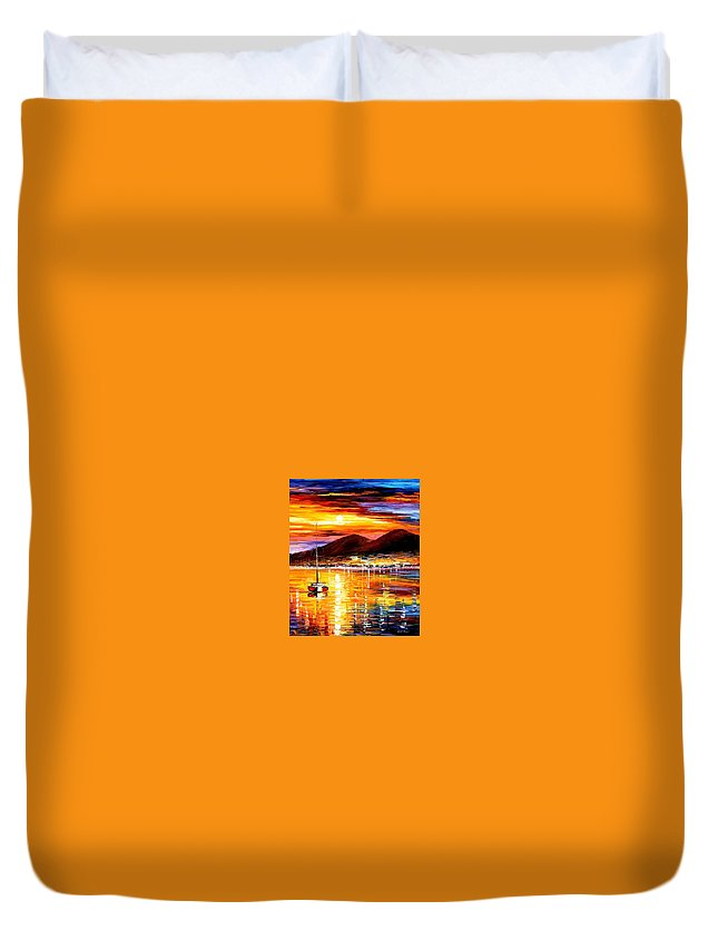 Art Gallery Duvet Cover featuring the painting Naples-sunset Above Vesuvius - Palette Knife Oil Painting On Canvas By Leonid Afremov by Leonid Afremov