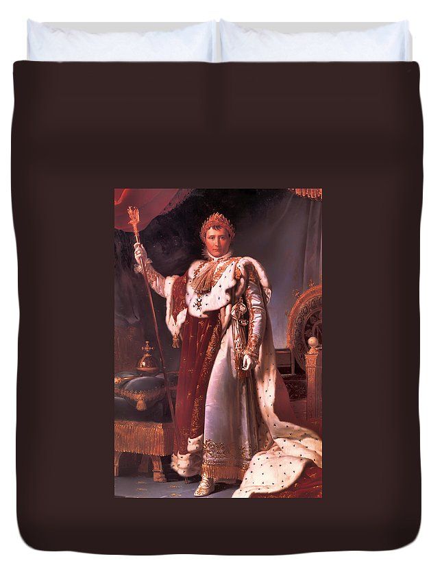 Napoleon Bonaparte Duvet Cover featuring the painting Napoleon In His Coronation Robes by Mountain Dreams