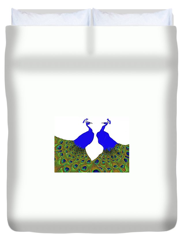 Peacocks Duvet Cover featuring the painting Narcissists Showdown by Nikki Keep