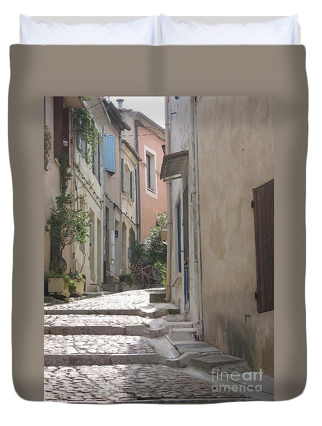 Lane Duvet Cover featuring the photograph Narrow Lane - Arles by Christiane Schulze Art And Photography