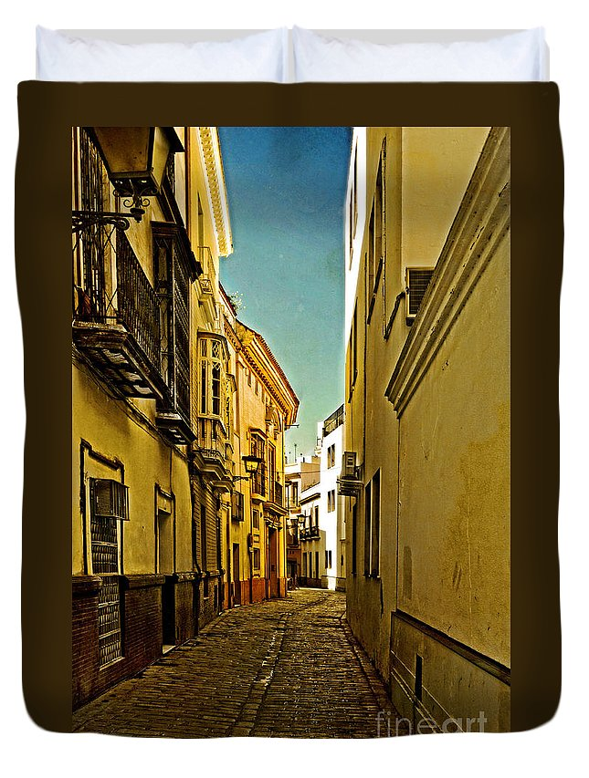 Narrow Street In Seville Duvet Cover featuring the photograph Narrow Street In Seville by Mary Machare