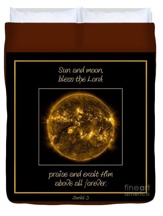 Nasa Duvet Cover featuring the photograph Nasa The Suns Corona Sun And Moon Bless The Lord Praise And Exalt Him Above All Forever by Rose Santuci-Sofranko