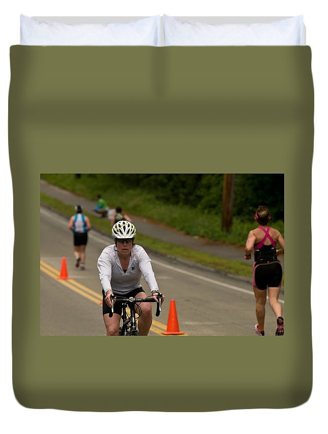 """nashua Sprint Y-triathlon"" Duvet Cover featuring the photograph Nashua Sprint Y-tri Focused by Paul Mangold"