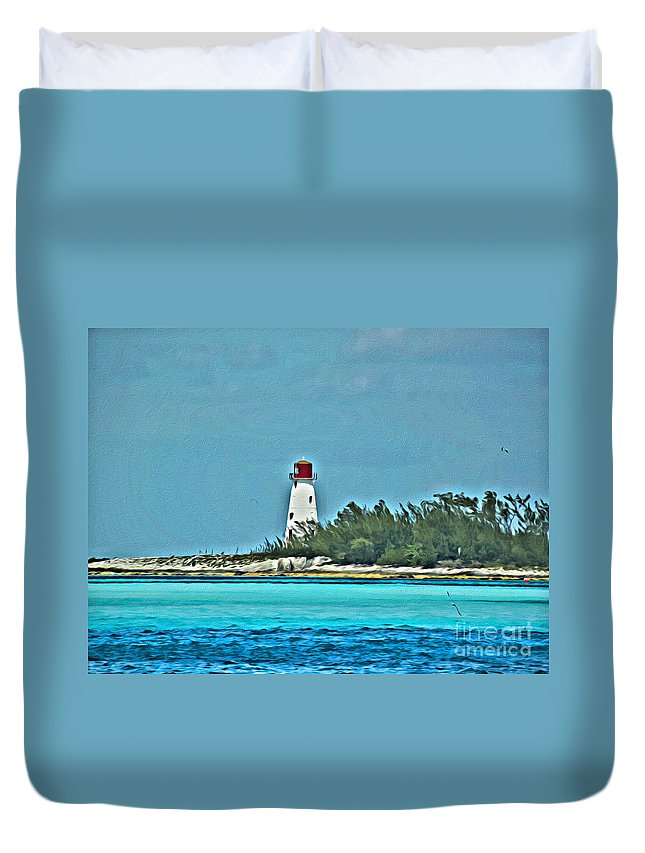 Bahama Duvet Cover featuring the photograph Nassau Bahama Lighthouse by Scott Hervieux