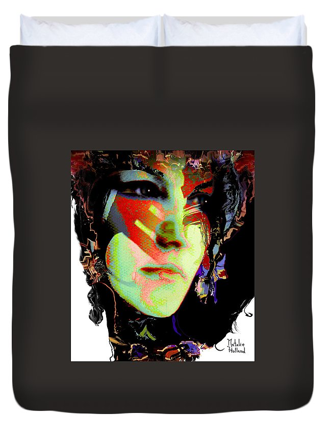 Portrait Duvet Cover featuring the mixed media Nat 8 by Natalie Holland