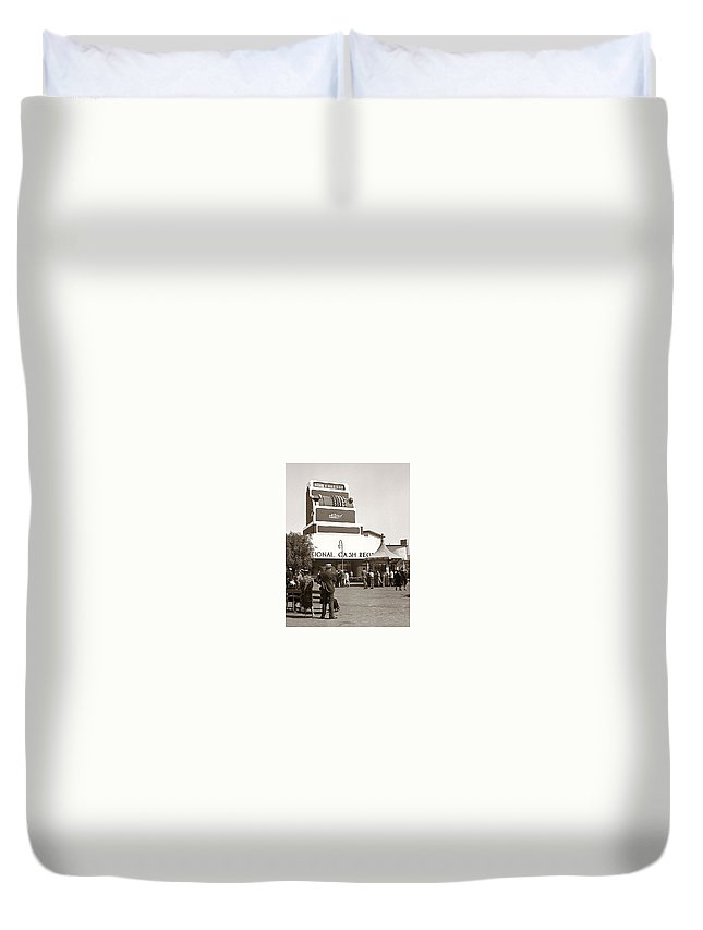 Historical Duvet Cover featuring the photograph National Cash Register by Marilyn Hunt