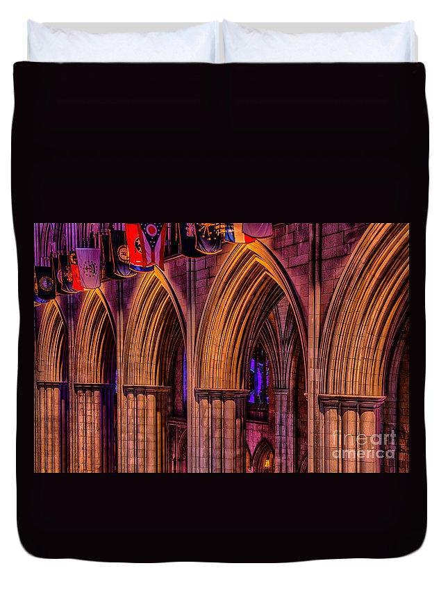 National Cathedral Duvet Cover featuring the photograph National Cathedral Arches by Izet Kapetanovic