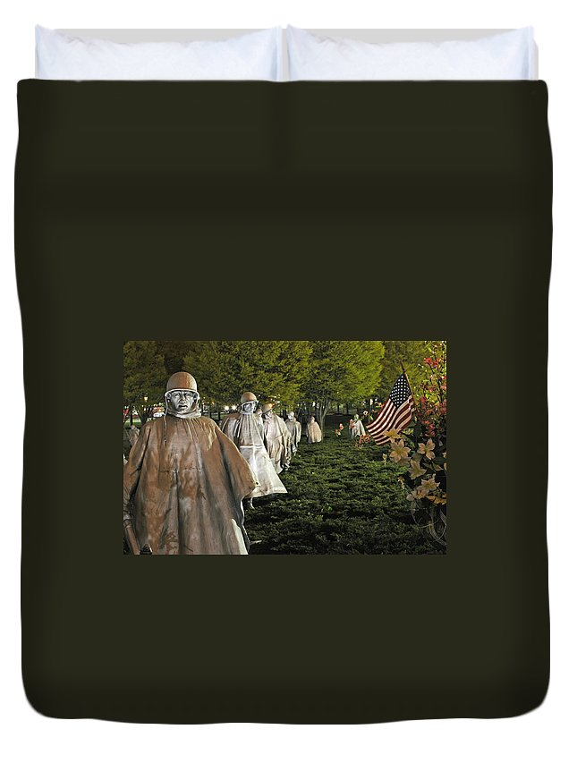 Washington Dc Duvet Cover featuring the photograph National Korean War Memorial by Richard Bryce and Family