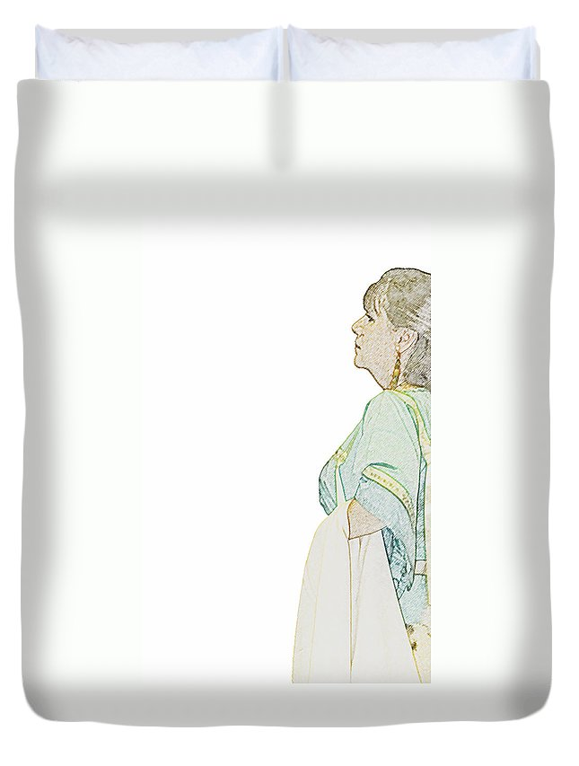 Indian Duvet Cover featuring the photograph Native Amercian Indian Woman by Charles Beeler