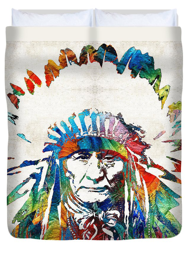 Native American Duvet Cover featuring the painting Native American Art - Chief - By Sharon Cummings by Sharon Cummings