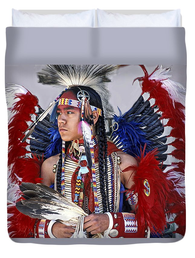Native American Duvet Cover featuring the photograph Native American by Dave Mills