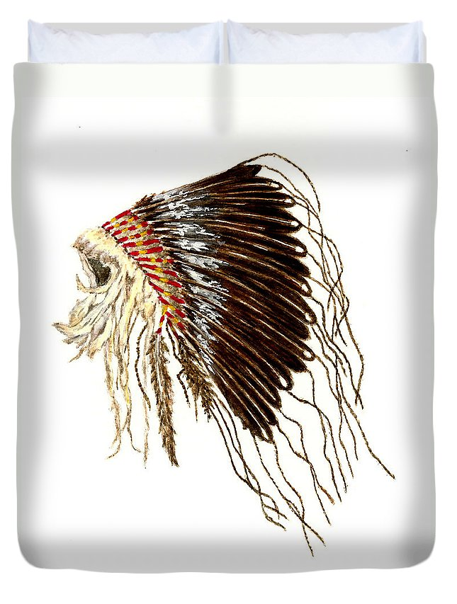Native American Duvet Cover featuring the painting Native American War Bonnet - Plains Indians by Michael Vigliotti