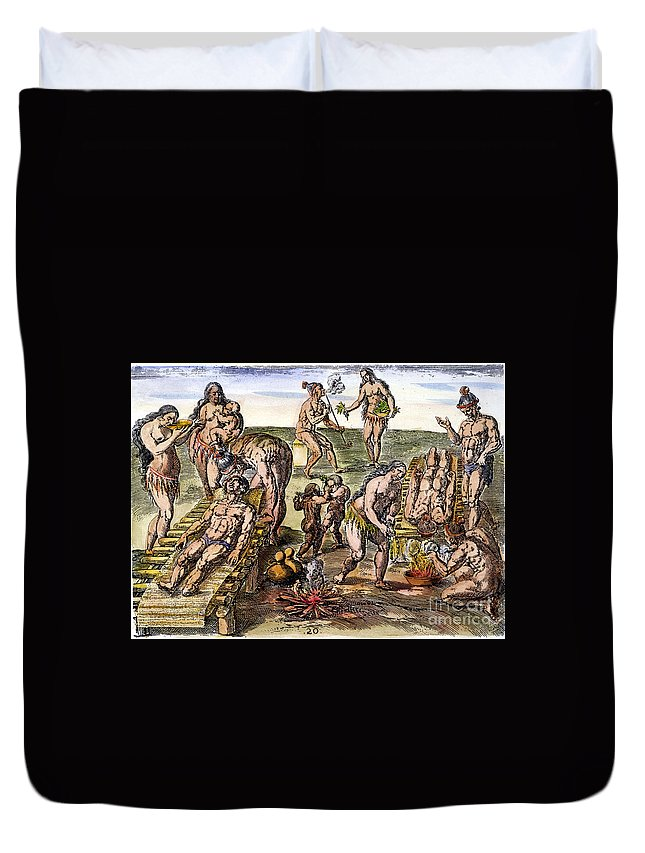 1591 Duvet Cover featuring the photograph Native Americans: Disease by Granger