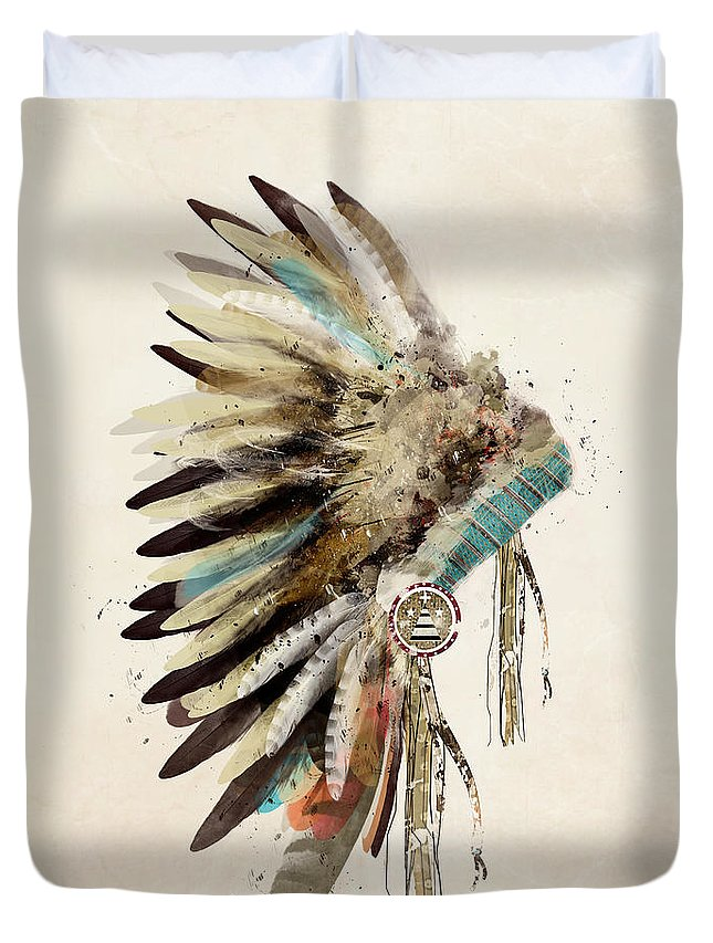 Native Headdress Duvet Cover featuring the painting Native Headdress by Bri Buckley