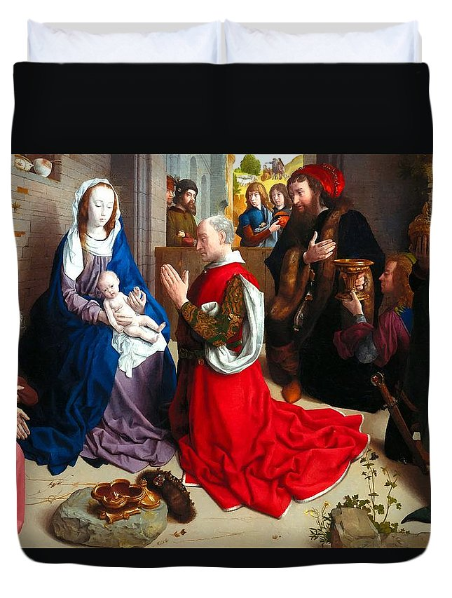 Albrecht Duvet Cover featuring the photograph Nativity And Adoration Of The Magi by Munir Alawi