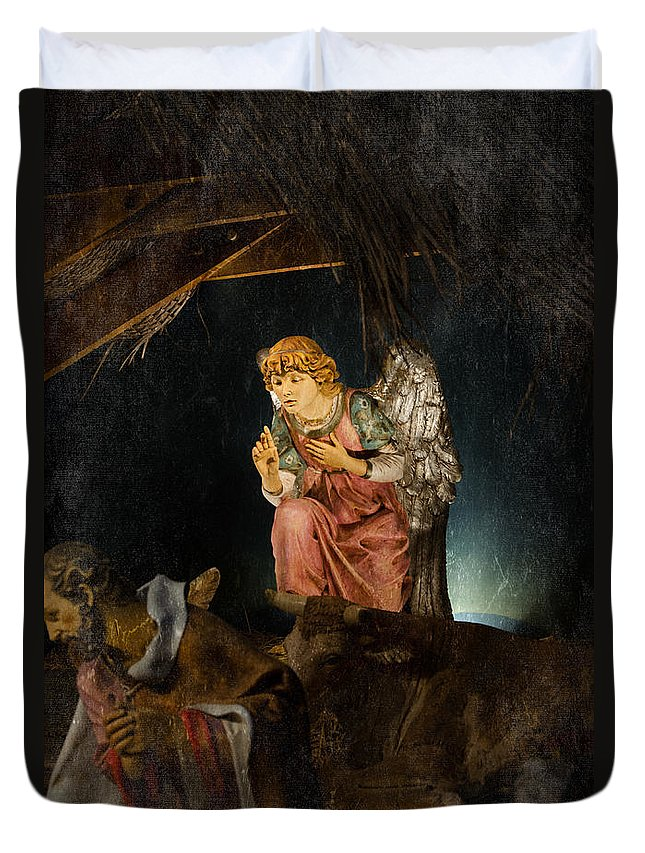 Angel Duvet Cover featuring the photograph Nativity Angel by Susan McMenamin