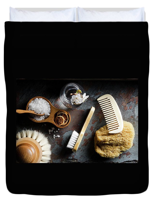 Comb Duvet Cover featuring the photograph Natural Bath Accesories On Gray by Nightanddayimages