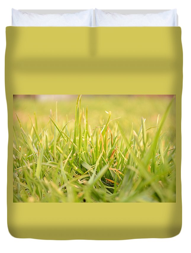 Backdrop Duvet Cover featuring the photograph Natural Grass by Ferenc Kosa