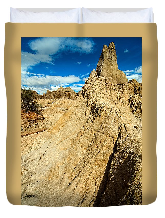 Desert Duvet Cover featuring the photograph Natural Stone Pillar by Jess Kraft