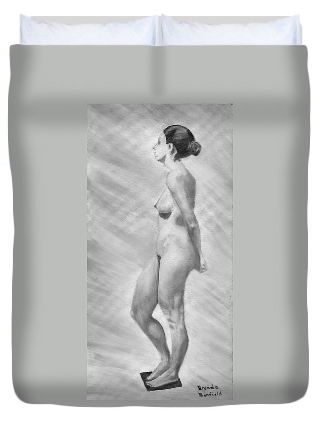 Nature Duvet Cover featuring the painting Natural Woman by Brenda Bonfield