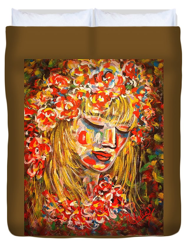 Girl Duvet Cover featuring the painting Nature Girl by Natalie Holland