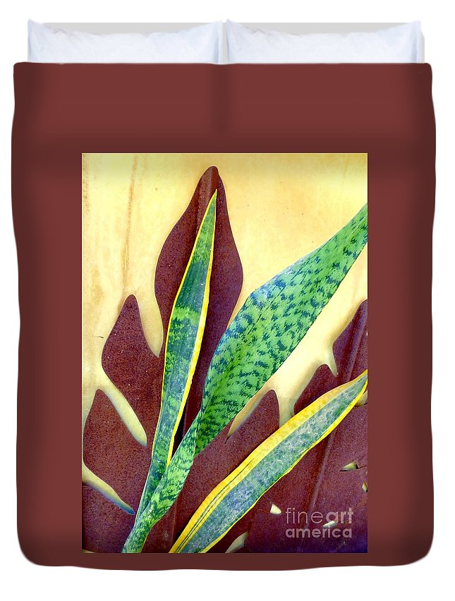 Snake Plant Duvet Cover featuring the photograph Nature Imitates Art by Barbie Corbett-Newmin