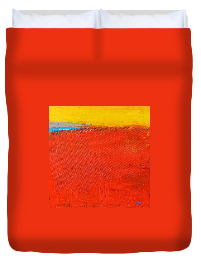 Landscape Duvet Cover featuring the painting Nature Rouge by Habib Ayat