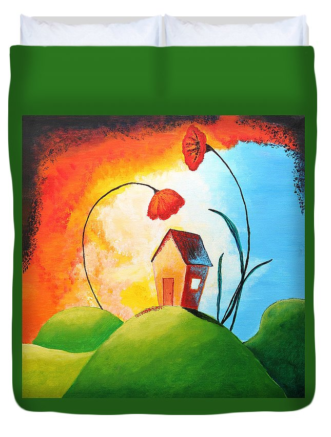 Apartment Duvet Cover featuring the painting Nature Spills Colour On My House by Nirdesha Munasinghe