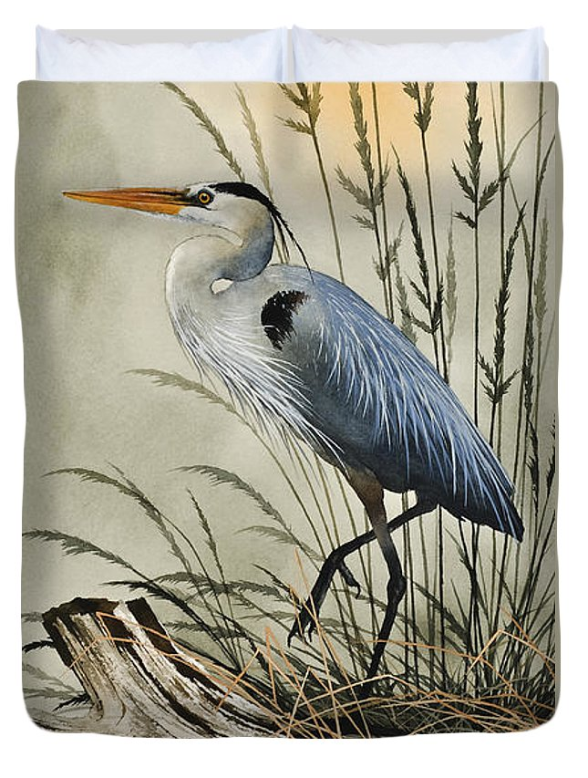 Heron Duvet Cover featuring the painting Nature's Beauty by James Williamson