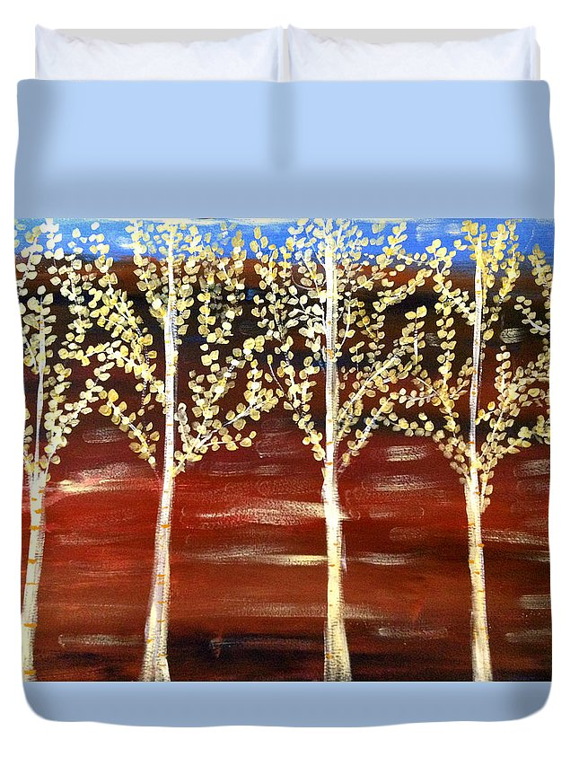 Nature Duvet Cover featuring the painting Natures Poetry by Sherry Flaker