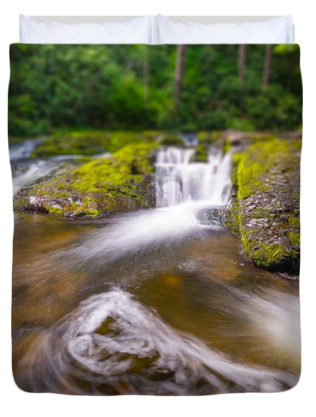 Off The Beaten Path Duvet Cover featuring the photograph Nature's Water Slide Tilt Shift by Michael Ver Sprill